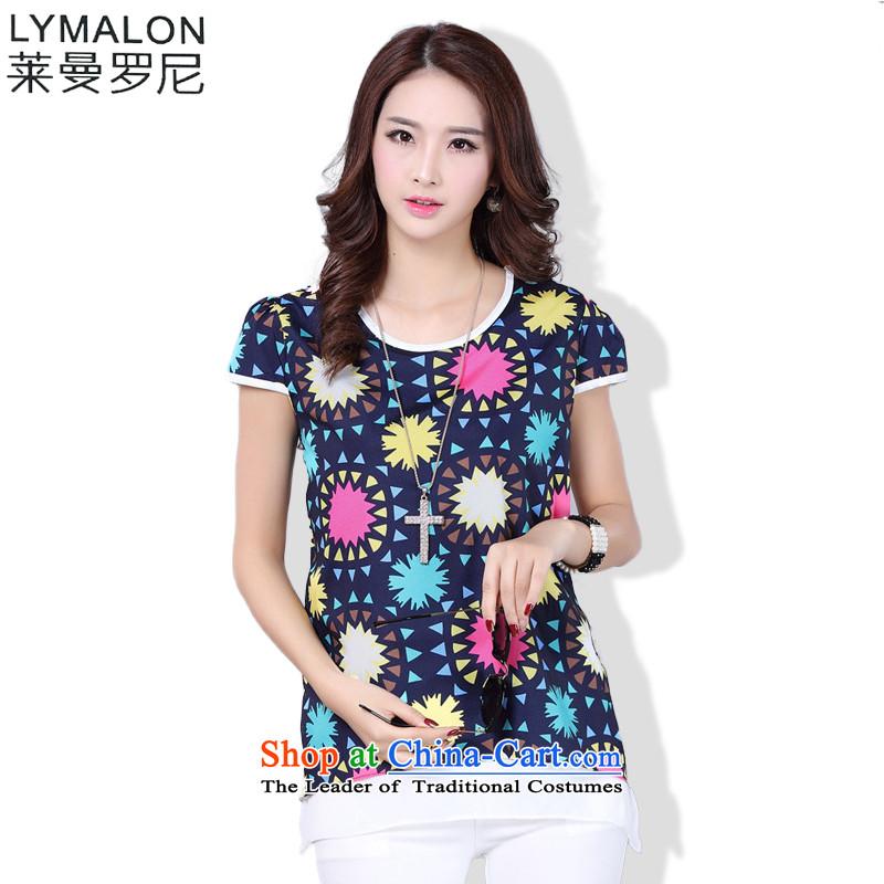 The lymalon Lehmann 2015 Summer new large stylish Korean female lady temperament 5xl digital picture color shirt stamp 1610燣
