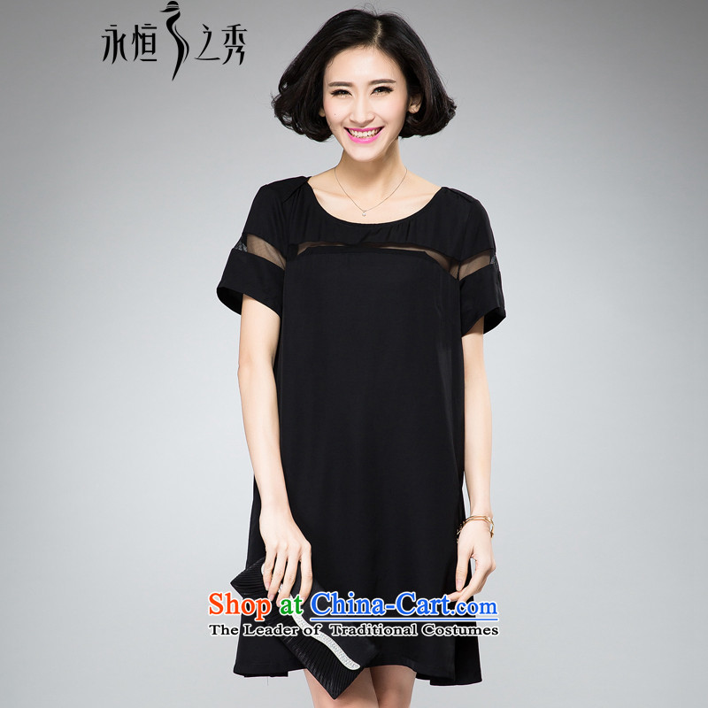 The Eternal Soo-To increase the number of women's dresses thick sister video thin Summer 2015 new Korean modern elegant thick mm short-sleeved dresses Black燲L