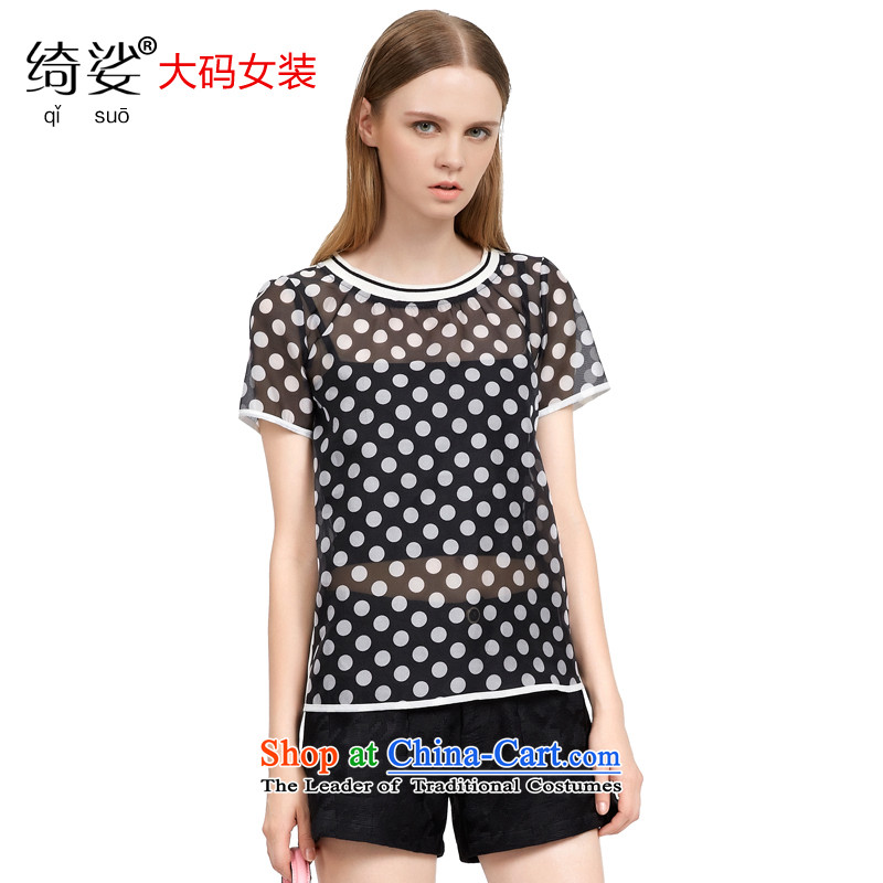 As provided for by 2015 XL female thick MM summer new products Korean Wave point video thin black poverty short-sleeved T-shirt gauze   2790 Black L