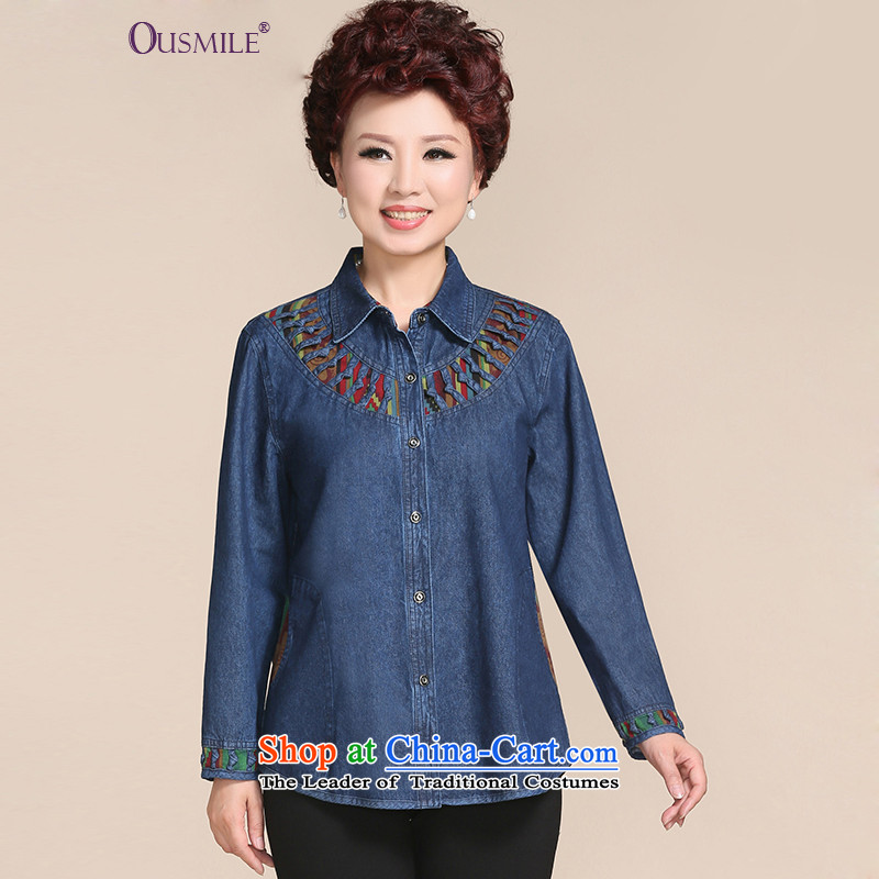 Install MOM 2015 ousmile Fall/Winter Collections of the middle-aged shirt t-shirt, new products in the autumn of cowboy older women's large88,836 88,836 thick, Denim blueXL