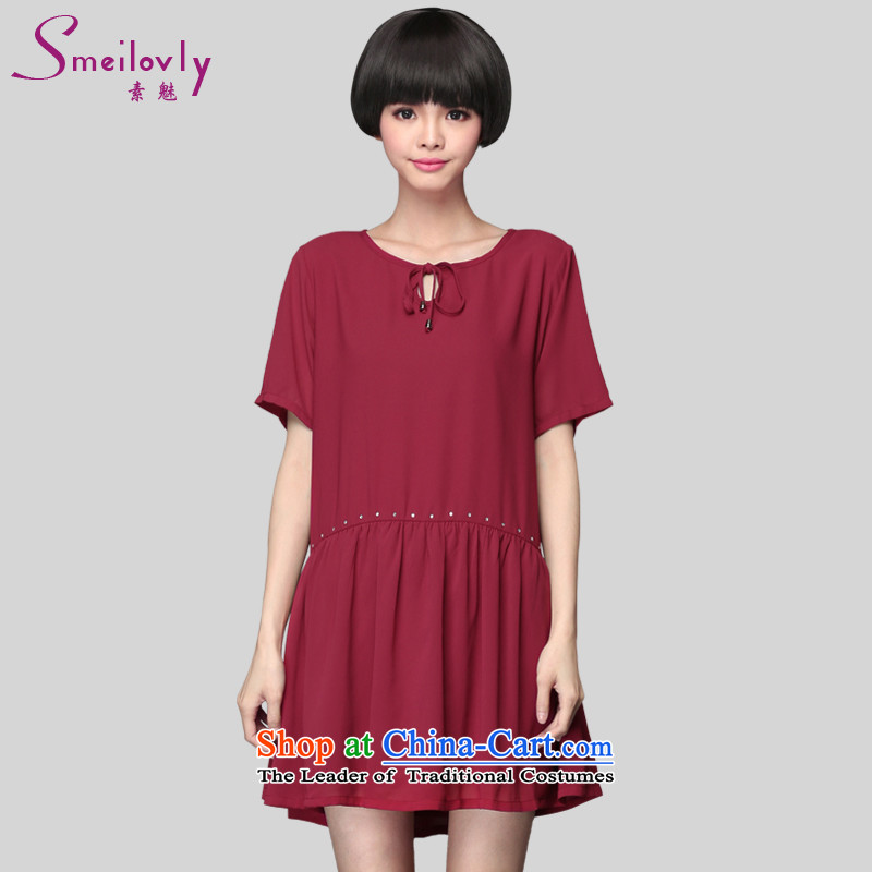The Director of the 2015 Summer new 200 catties plus hypertrophy code women thick mm Korean short sleeve loose chiffon dresses�01爓ine red large 5XL around 922.747 200