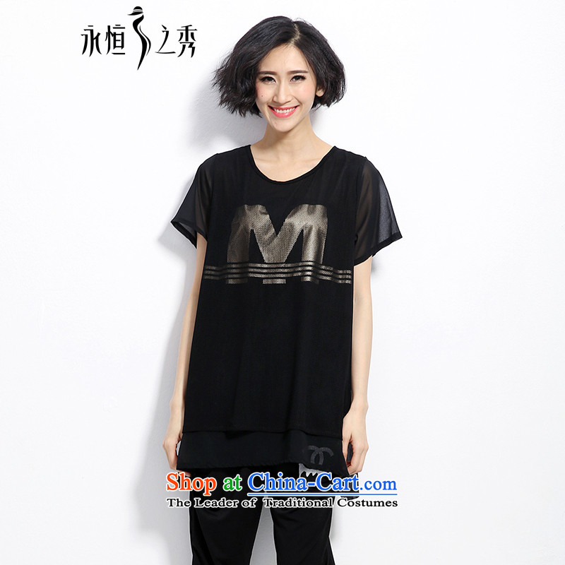 The eternal summer Sau 2015 mm thick new Korean version of large numbers of ladies minimalist atmosphere letters stamp black T-shirt thin graphics poor black3XL