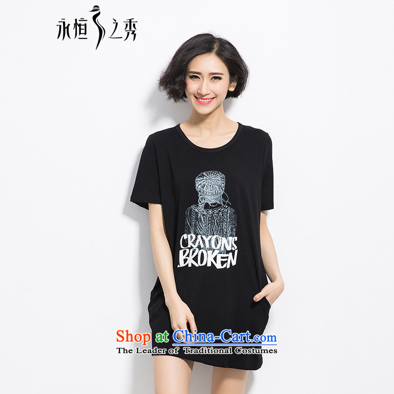 The Eternal-soo to xl t-shirts thick mm summer new product expertise, Hin thick sister in thin long Korean fashion letters stamp loose short-sleeved T-shirt black4XL