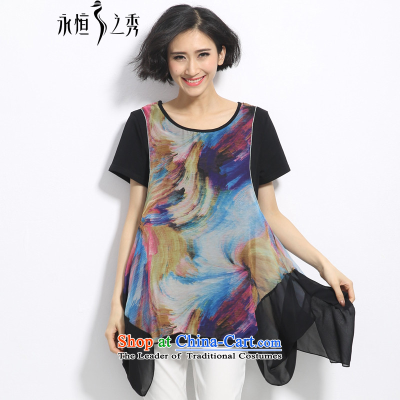 The eternal summer Sau 2015 mm thick large new women's unique ink painting bleeding split stitching leave two video thin black T-shirt2XL