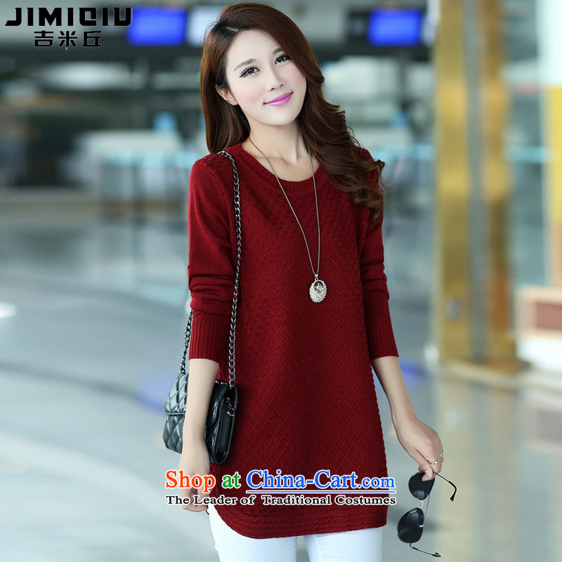 Gil Miciu Knitted Shirt, long sweater 2015 new larger women fall_winter collections to intensify the Korean Sleek and versatile thick clothes, wine redXXXL mm