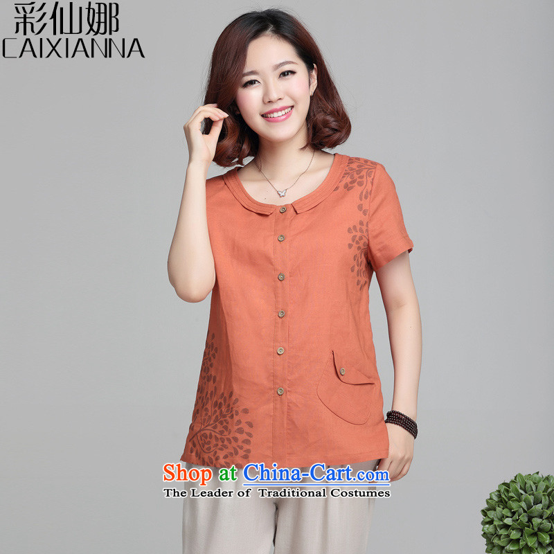 Also the2015 Summer sin new shirt female Korean president short-sleeved blouses and large fat mm small red-orange shirtL
