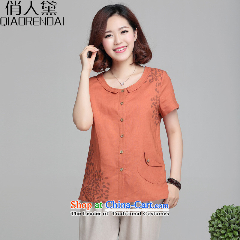 For the peopleby 2015 Summer Doi new leisure loose short-sleeved female Korean mother replacing stamp code cotton linen tunic red-orangeL