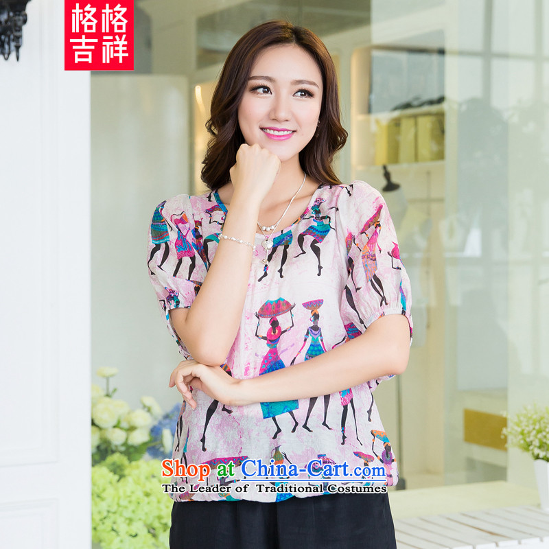 The interpolator auspicious�15 to increase the number of women with new summer thick mm loose video thin people stamp bat Sleeves Blouse female X5291 t-shirt pink�L