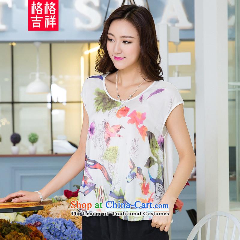 The interpolator auspicious to xl women 2015 Summer new Korean Version Stamp shirt thick mm video thin loose short-sleeved T-shirt X5288 female white4XL