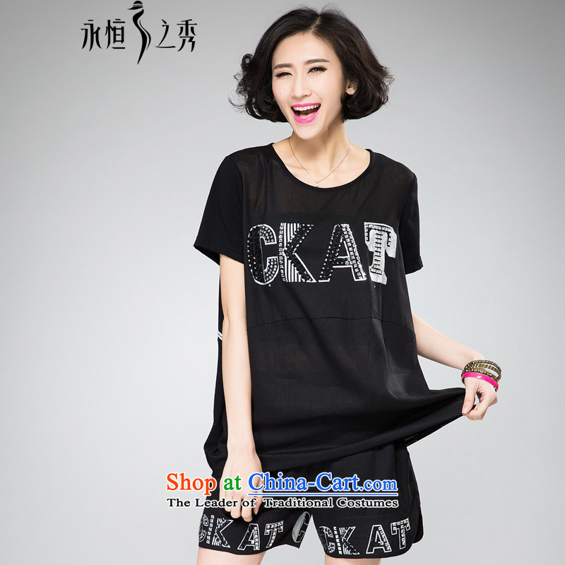 The Eternal Soo-to increase women's code thick mm package thick, Hin thin 2015 Summer new thick sister western personality ironing drill stamp shorts, short-sleeved T-shirt+ Pants Shirts Xl_t black_