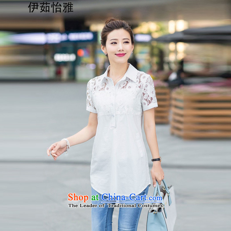 El-ju Yee Nga 2015 Summer new to intensify the Sau San Fat sister lace stitching larger female shirt YY5567 White XXL