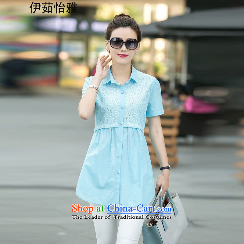 El-ju Yee Nga2015 Summer new thick sister video thin stitching Korean short-sleeved shirt with large YY5568 BLUEL