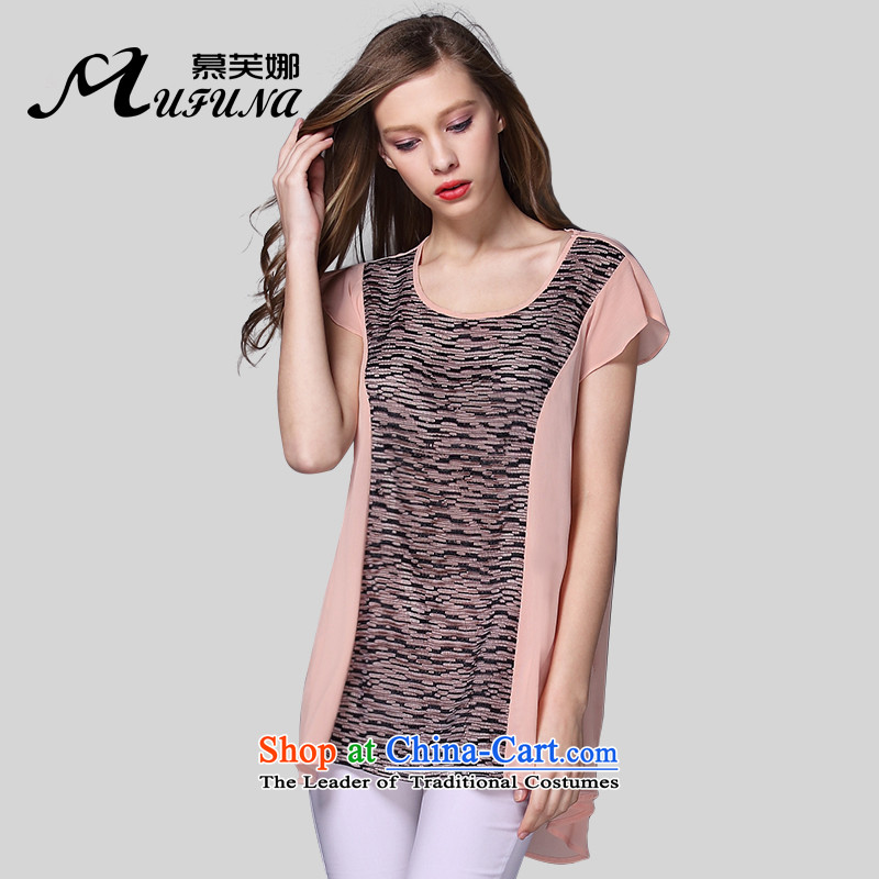 Improving access of 2015 Women's code of the npc thick summer new fat mm to xl temperament engraving stitching chiffon short-sleeved T-shirt T-shirt聽color picture聽XXXXXL 1011