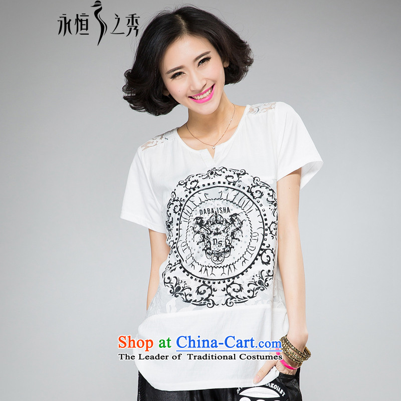 The eternal summer Sau 2015 mm thick large new women's stylish handsome ironing drill digital printing loose video thin white short-sleeved T-shirt2XL