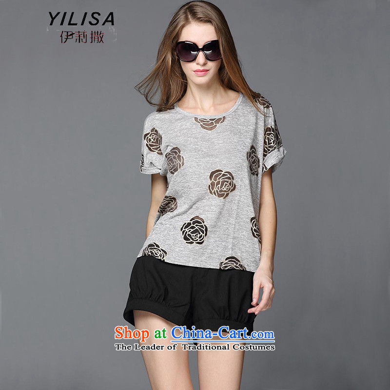 Large European and American women YILISA replace Mr Ronald t-shirts shorts packaged New mm thick and stylish Rose stamp thin coat chiffon Video Shorts Kit Y9095 flower gray聽XXXL
