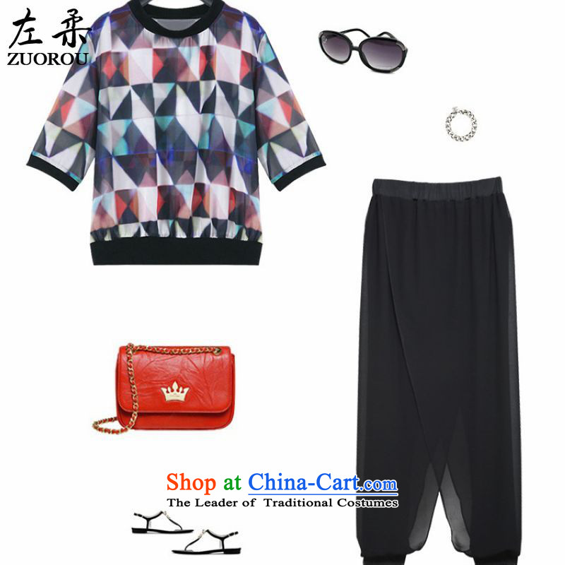 Left soft  xl Europe 2015 women thick mm summer two kits chiffon Netherlands 200 catties video thin short-sleeved long pants figure as the primaryXXXXL