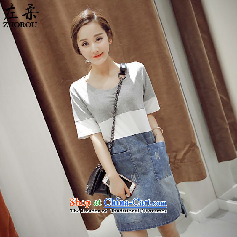 Left softsummer 2015, Korean leisure streaks stitching denim dress in Sau San video thin long short-sleeved light gray skirtS