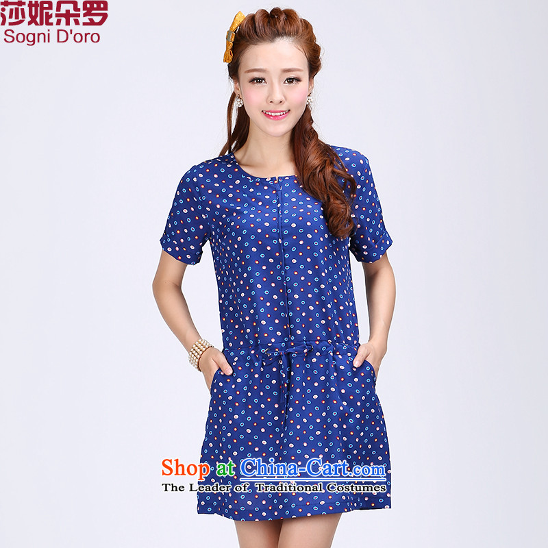 Shani flower lo xl female thick mm2015 summer short-sleeved new round-neck collar Foutune of video thin dresses 6778 Blue2XL
