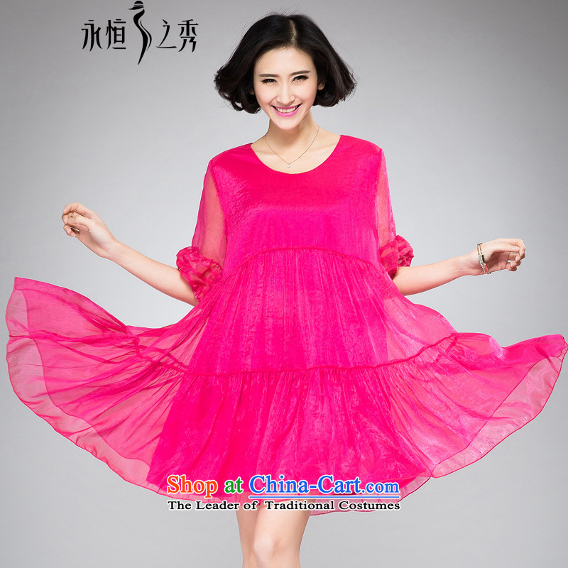 The Eternal-soo to xl women's dresses thick sister 2015 Summer new products were relaxd thick mm thick video thin new large A swing lanterns cuff dresses redXL