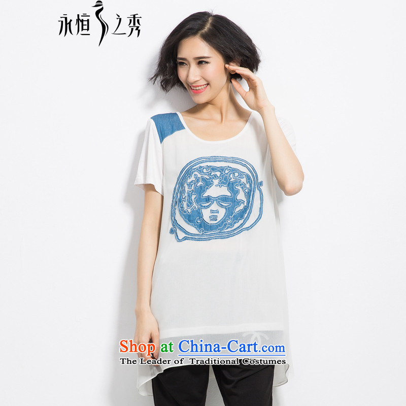 The Eternal Soo-To increase the number of women on the video thin tee thick mm2015 summer new products thick sister loose washing jean pattern leisure T-shirt White�L
