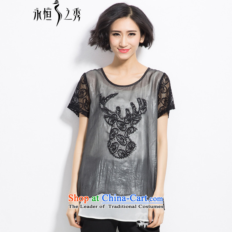 The Eternal-soo to xl t-shirts thick mm2015 summer new product expertise, Hin thick sister thin stylish twill yarn embroidery leave two t-shirts black�L