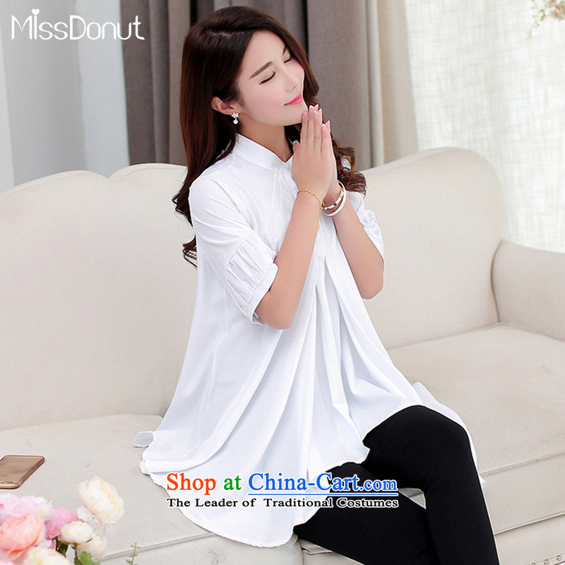 Missdonut2015 summer thick mm to increase women's code version won thin petticoats loose in the long white shirt thick sister shirt summer large white code 4XL