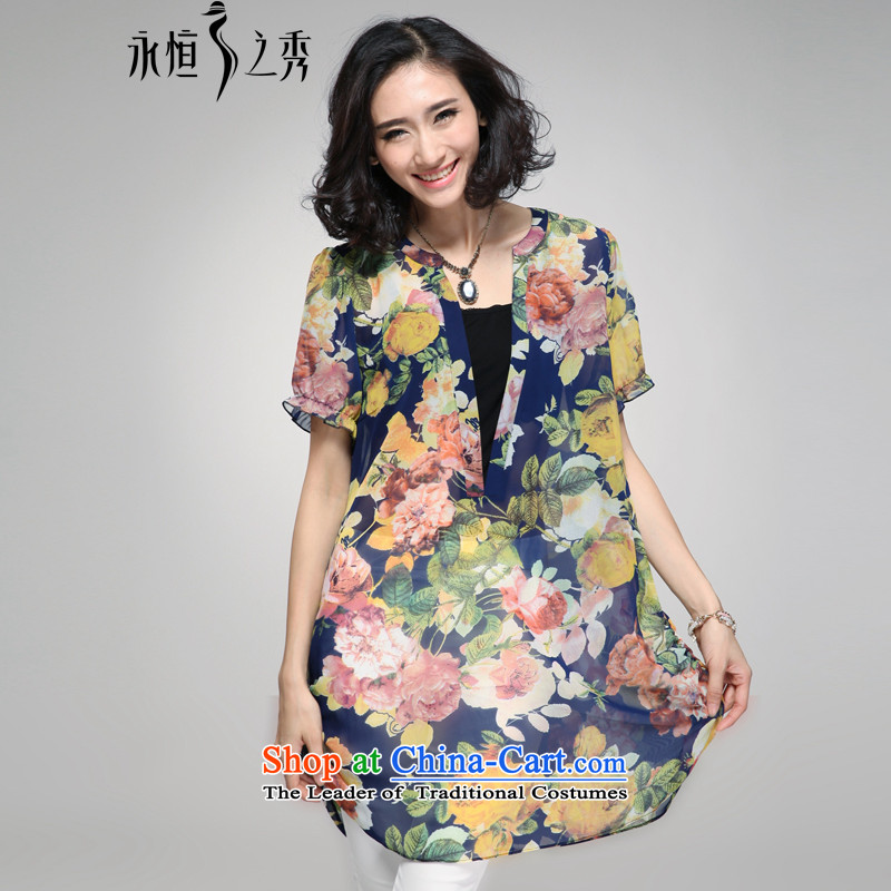 The Eternal Yuexiu Code women chiffon shirt thick sister 2015 Summer new product expertise, Hin thick mm thin, to intensify the stamp loose coat code retro blue XL