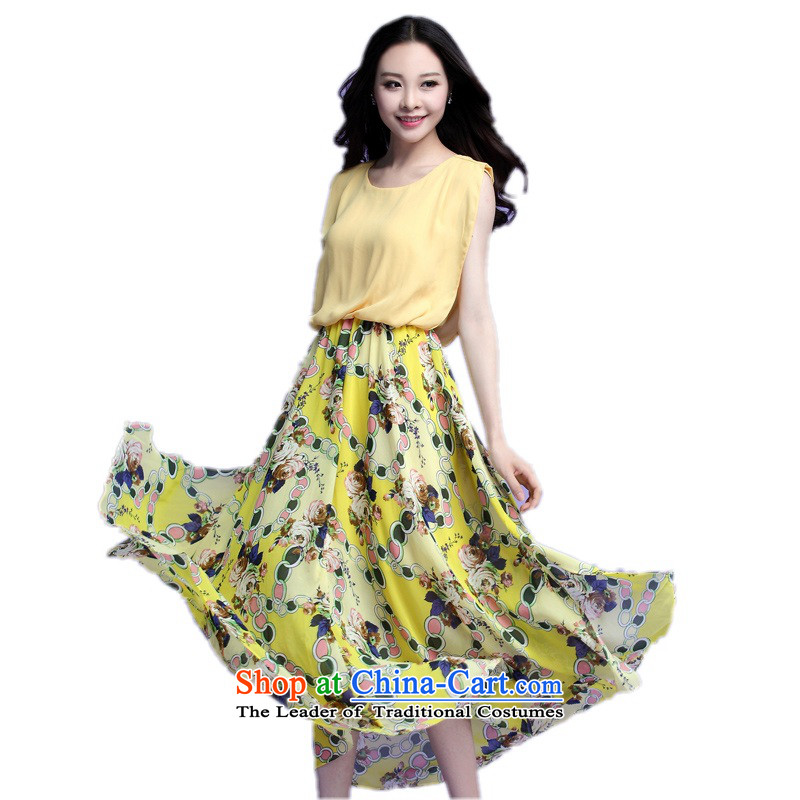 C.o.d. 2015 Summer new stylish casual relaxd large temperament thick sister Bohemia stamp chiffon skirt long skirt leave two cents Yellow燲L