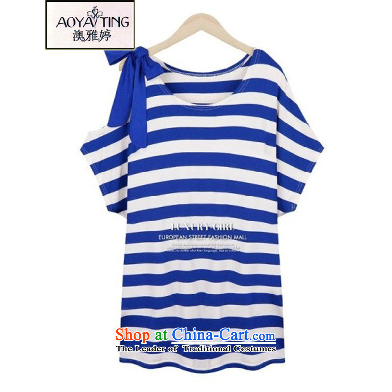 O Ya-ting聽2015 Summer new to increase women's code thick mm video thin cotton T-shirts short-sleeved blue striped聽3XL female聽145-165 recommends that you Jin