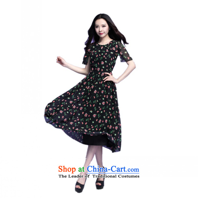 C.o.d. Package Mail 2015 Summer new stylish casual temperament classic thick MM heavy code code chiffon dresses summer large floral skirt black skirt燲L