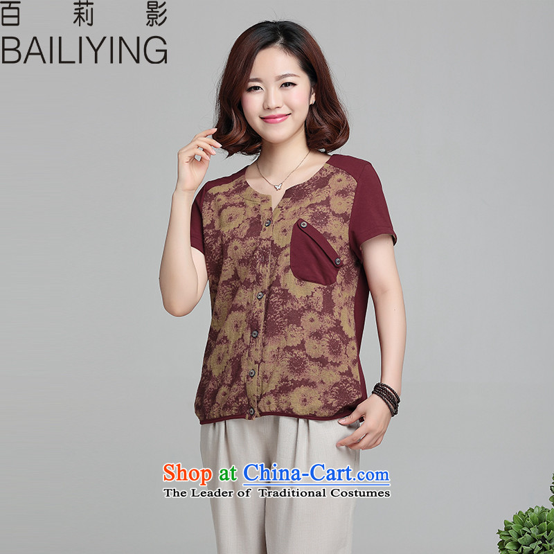 Hundreds聽-year-old middle-aged 35-50 Shadow Li Summer Korean female loose short-sleeved T-shirt cotton T-shirt, forming the largest code 2015 small shirt female bourdeaux聽L