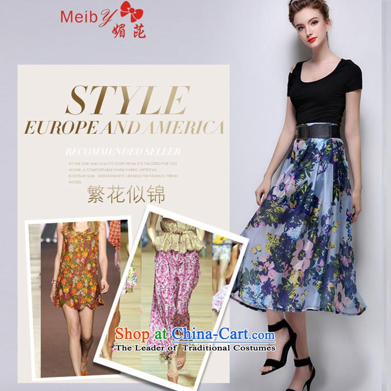 Sleek and versatile large meiby Code a new summer stylish look big flowers body skirt bon bon skirt long skirt820BlueXL