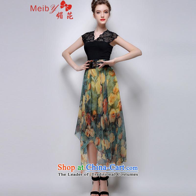 Sleek and versatile large meiby Code a new summer stylish big flowers irregular upper body temperament skirt long skirt聽831聽Yellow聽XL