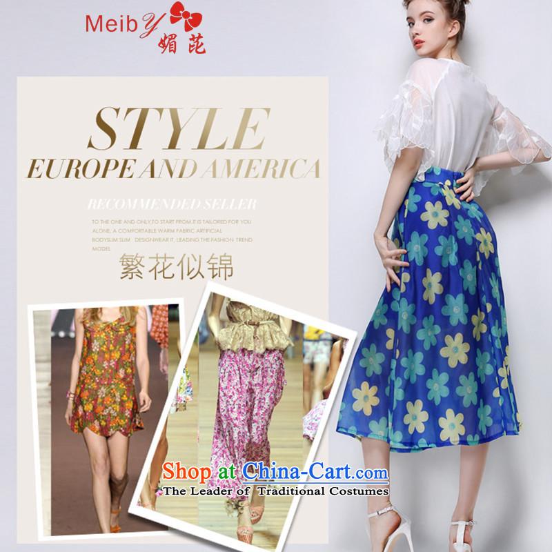Sleek and versatile large meiby Code a new summer stylish look big flowers body skirt bon bon skirt long skirt�5燘lue燤