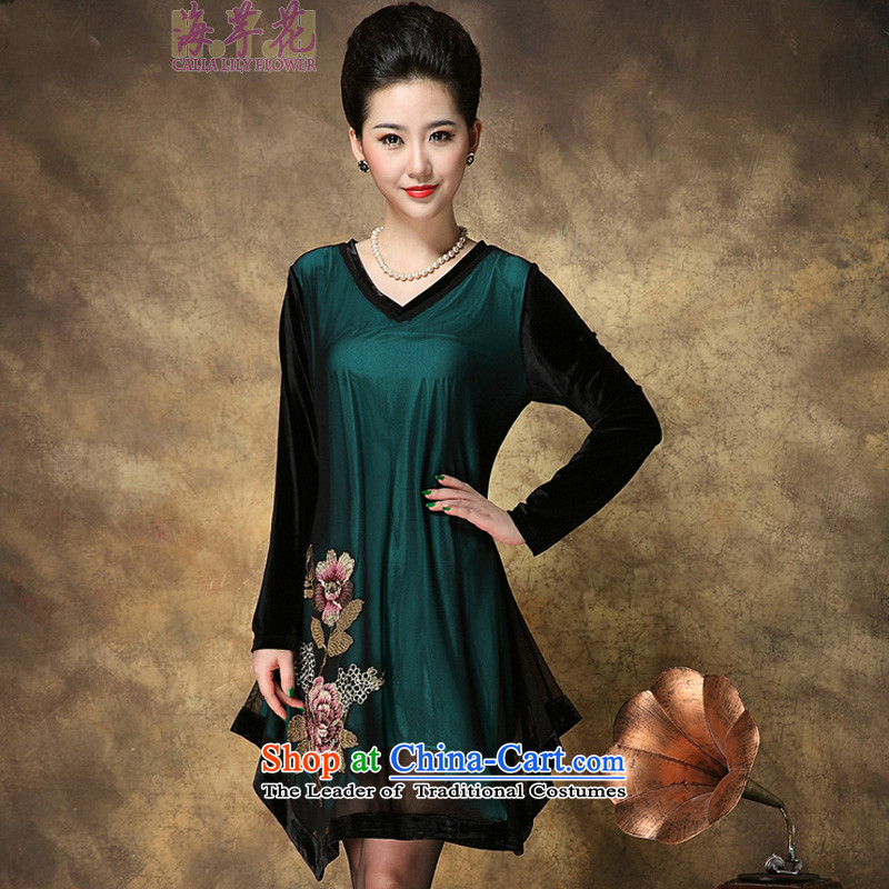 The sea route Flower Spring New gold velour long-sleeved V-Neck embroidery large nets dresses 4081-H dark green�L