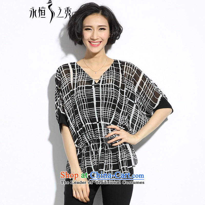 The eternal summer 2015, Sau thick mm new Korean version of large numbers of ladies V-neck in the black-and-white Plaid Print Foutune of video thin black shirt relaxd�L