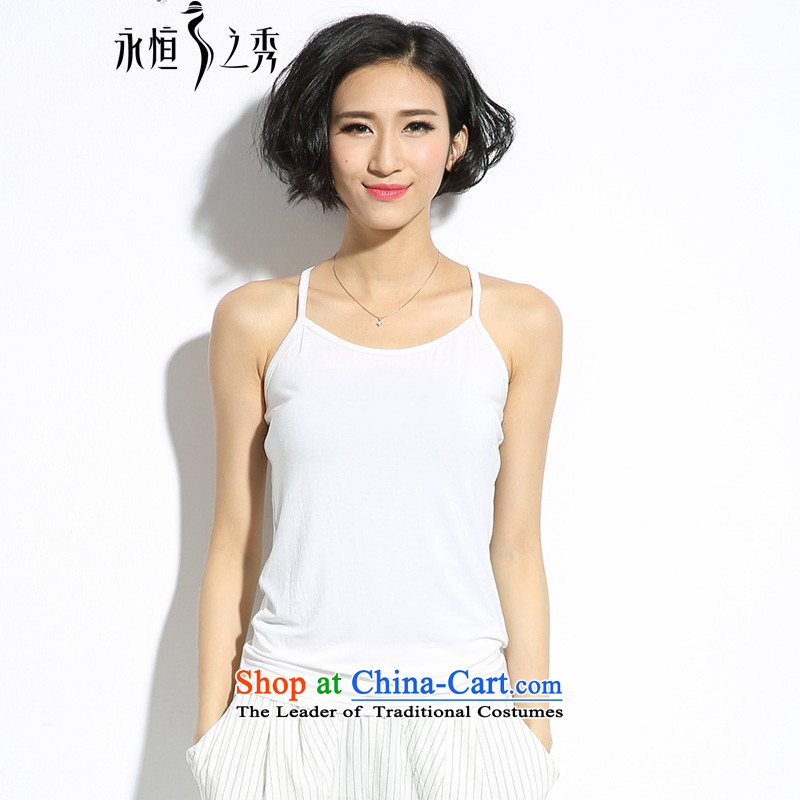 The Eternal Soo-to increase women's wear shirts code small vest thick mm thick, Hin thin summer new thick sister modal cotton short of wild Breathable white vest small 4XL
