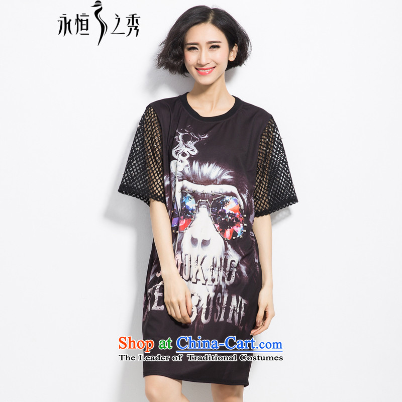 The eternal summer 2015, Sau thick mm new European and American women in large long digital printing wild video thin dresses Black燲L