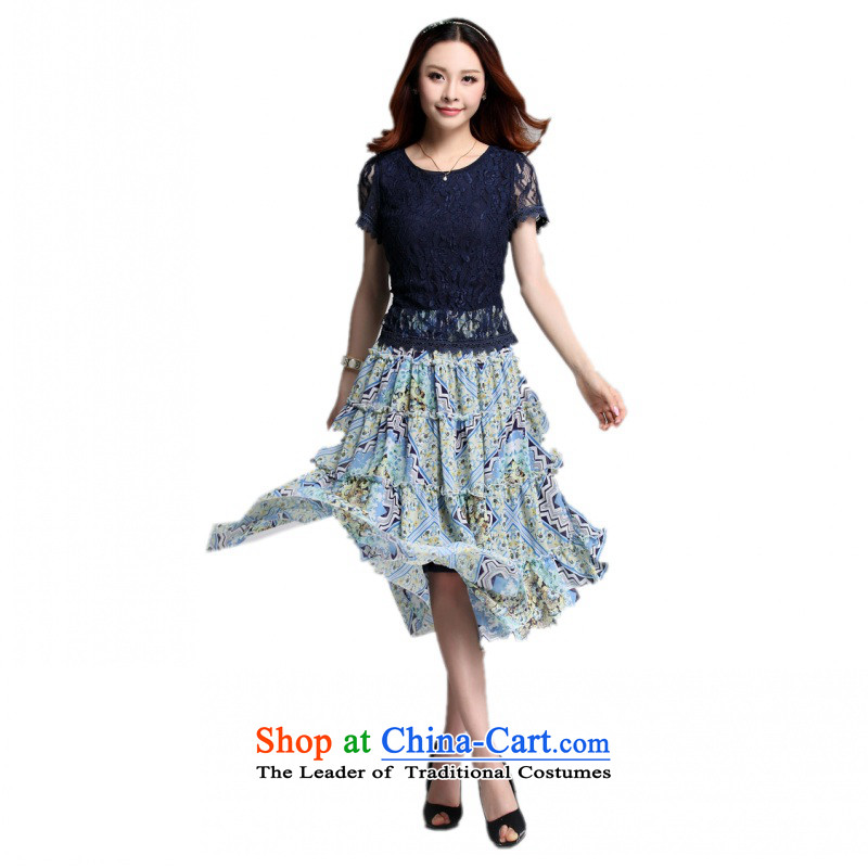 C.o.d. Package Mail 2015 Summer new stylish casual temperament classic code thick Mei lace stitching Bohemia chiffon small large floral dresses燲XXXL blue