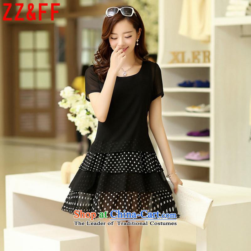 The new summer 2015 Zz&ff larger chiffon dresses short-sleeved blouses and Korean women leave two Sweet Dot skirt femaleLYQ8091XXXXL black