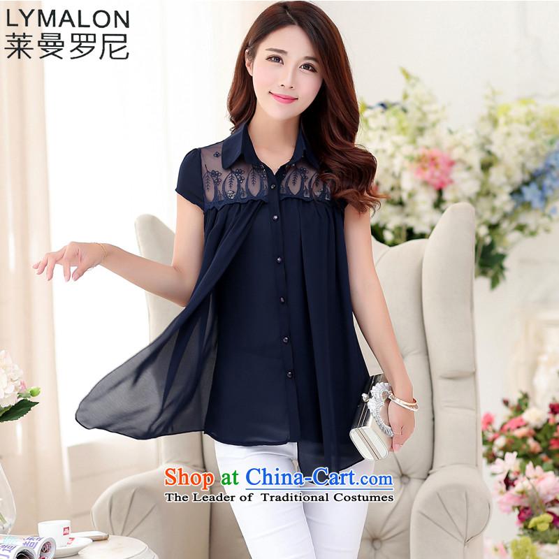 The lymalon lehmann new summer 2015 Korean women's large relaxd short-sleeved T-shirt thin graphics chiffon lace Netherlands 1499 dark blue燲L
