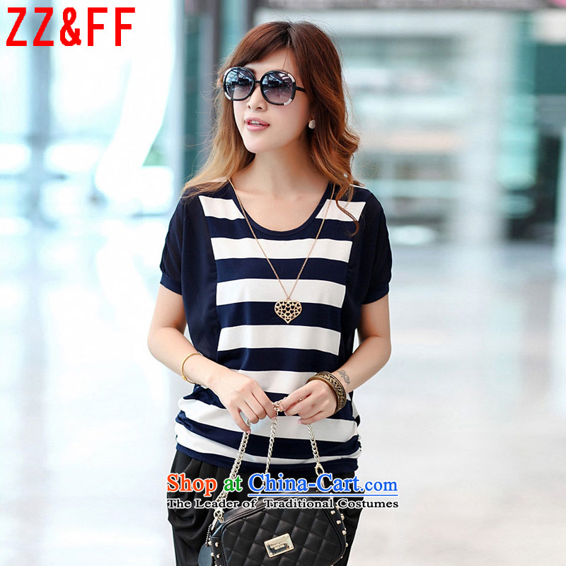 The new summer 2015 Zz&ff larger stripe round-neck collar short-sleeved T-shirt female DX8550 Sau San dark blue L