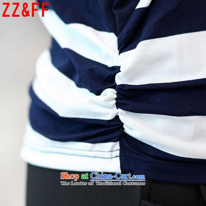 The new summer 2015 Zz&ff larger stripe round-neck collar short-sleeved T-shirt femaleDX8550 Sau Sandark blueL,zz&ff,,, shopping on the Internet