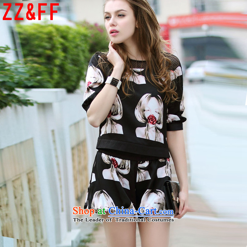 The new summer 2015 Zz_ff larger female 200 catties thick mm stylish stamp 7 T-shirt short-sleeved T-shirt two kits Beauty Figure Color聽XXXL_ recommendations 140-160 characters catties_