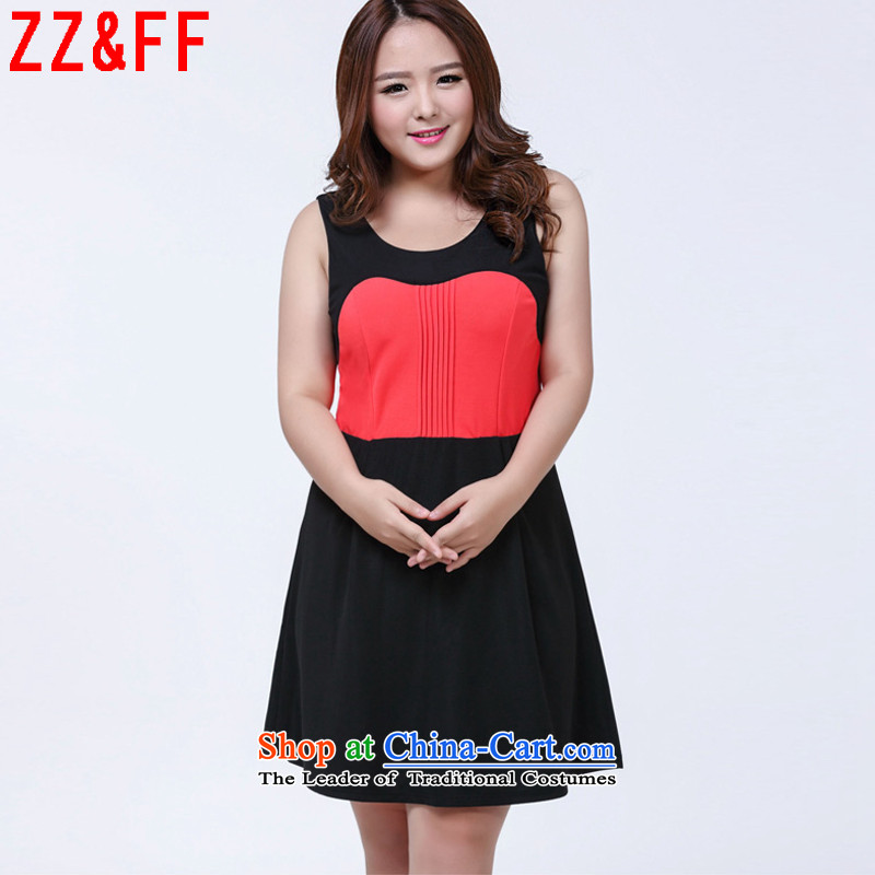 The new summer 2015 Zz_ff larger women's sleeveless spell color dresses girls Sau San聽LYQ1009聽map color聽XXL