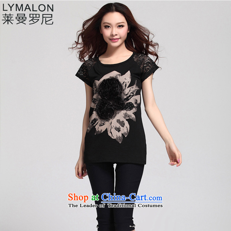 The lymalon Lehmann 2015 Summer new Korean Sau San wild larger female stamp round-neck collar short-sleeved T-shirt 8089 Black 4XL