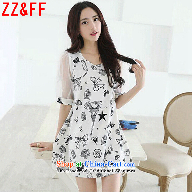 The new summer 2015 Zz_ff larger women in cuff Sau San dresses燣YQ9119 female爓hite燲XXL