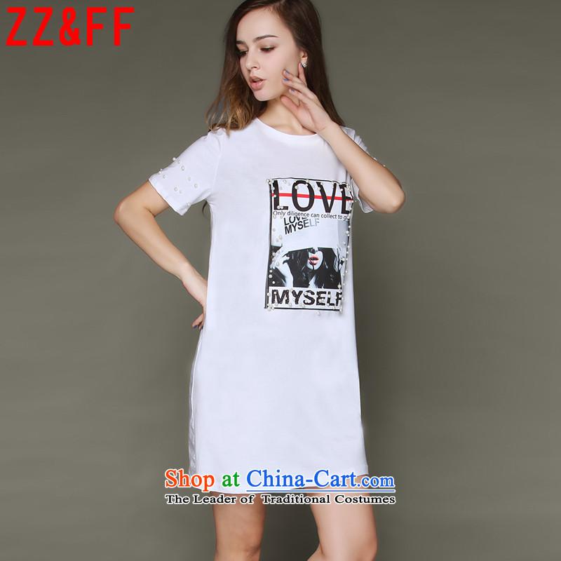 燤r Ronald new expertise Zz_ff MM larger leisure loose staples bead short-sleeved T-shirt female dresses package and pure cotton爓hite燲XXL DX6831 female