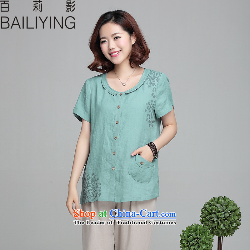 Hundred Li Ying 2015 Summer new cotton linen breathable short-sleeved T-shirt girl to xl thick MM THIN large graphics middle-aged female water BlueM