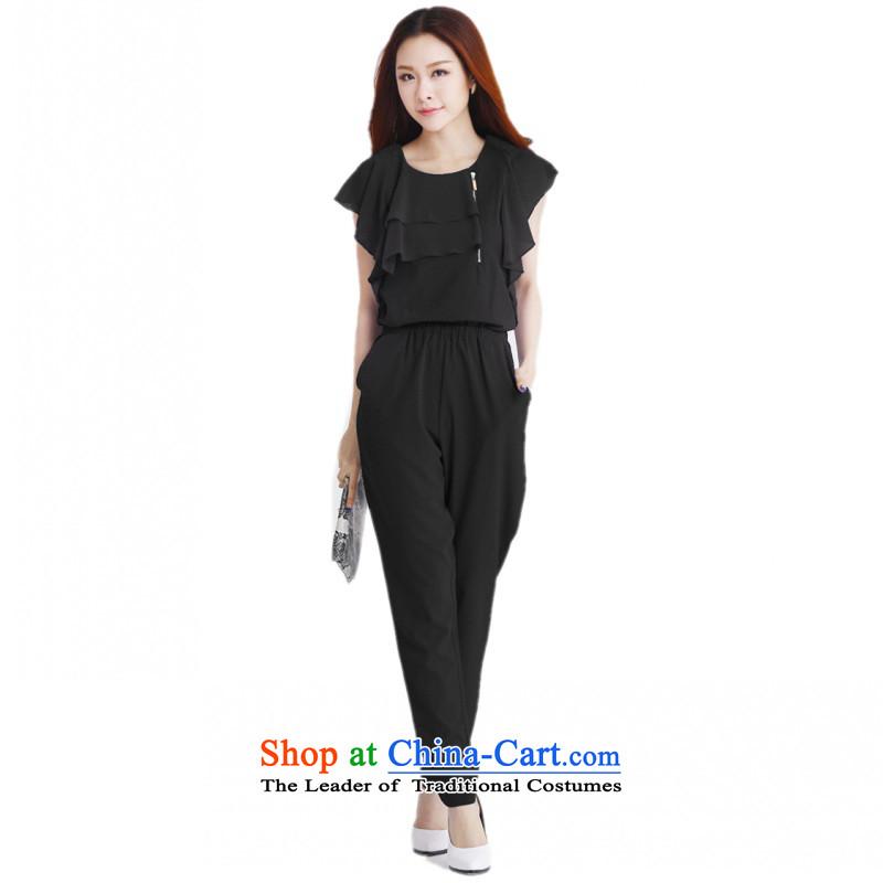 C.o.d. 2015 Summer new stylish casual temperament classic xl chiffon niba cuff edge zipper decorated loose trousers with elastic band even black trousersXL